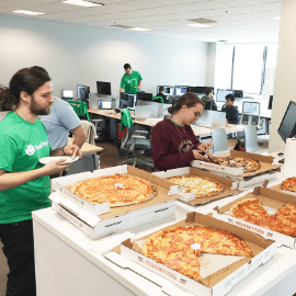 Pizza party at the HealthVerity office