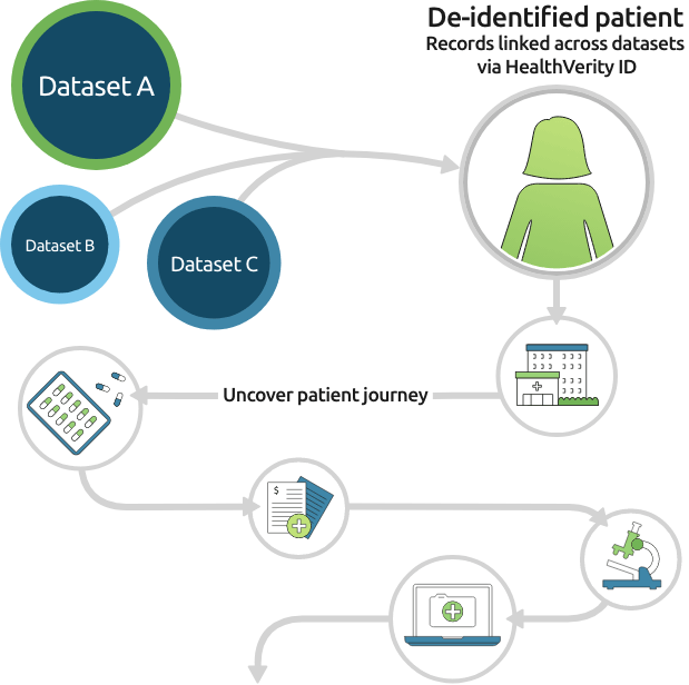 Illustrated HealthVerity Census de-identified patient journey
